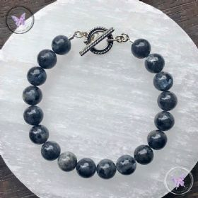 Larvikite Healing Bracelet With Silver Toggle Clasp